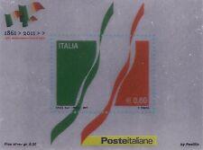 2011 150° Anniversario dell'Unità d'Italia - foglietto su lamina d'argento