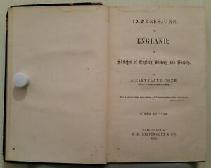 ANTIQUE/VINTAGE BOOK.1863.IMPRESSIONS OF ENGLAND.321 PAGES.PROP.