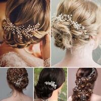 Flower Wedding Hair Pins Comb Bridal Clips Gold Crystal Pearls Hair Accessories