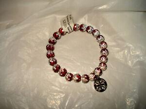 "Rustic Cuff New 8"" RED WHITE Shamballa Crystal 6 mm Bracelet"