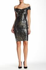 MARINA Off-shoulder sequin V-neck cocktail dress  Sizes- 12, 14