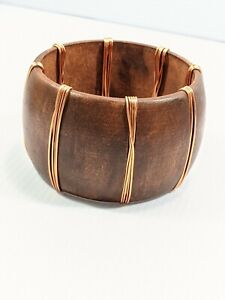 Artisan Brown Wood Copper Wire Wrap Wide Bangle Bracelet 8 inches
