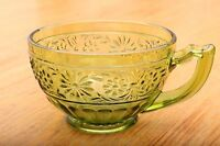 Vintage Indiana Green Glass Daisy Punch Glass Tea Cup