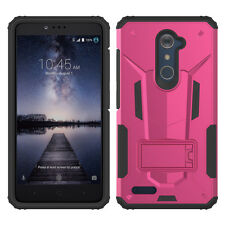 For ZTE Max XL N9560 HYBRID KICK STAND Rubber Case Phone Cover Accessory