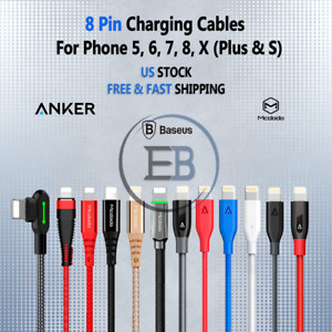 Cable Charger USB to 8 Pin 3ft, 6ft or 10ft For Phone lot 5 6 plus 7 8 11 Colors