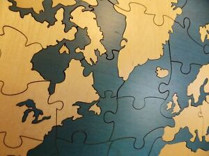 World Map Guest Book Alternative Wood Puzzle In Custom Finger Joint Box