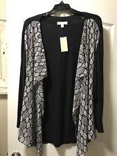 NEW Michael Kors Plus Size 2X Black And Grey Draped Knit Cardigan, Retail $98