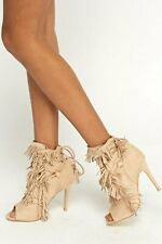 Womens Ladies Beige Faux Suede High Heel Fringe Tie Up Party Shoes Size UK 5 New