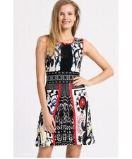 "NWT Desigual by Lacroix Dress ""Bernardino"" XL UK16 Tribal Design White Black FAB"