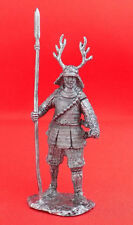 Handmade Tin Metal Figurine Soldier Model 1:32 54mm Samurai with spear 1600 year