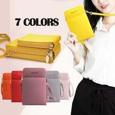 Womens Mobile Phone Bag PU Leather Pouch Cross Body Purse Wallet Shoulder Bag