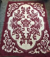 "LARGE HEAVY 100% WOOL THROW BLANKET TAPESTRY 74""x57"" RED WHITE FLORAL DESIGN VTG"