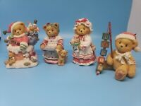 Cherished Teddies Christmas Lot Of 4 Vintage Collectibles Kris, Holly,...