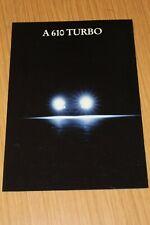 Renault A610 Turbo Glossy Sales Folder English Text 1992