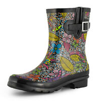 Women's Short Rain Boots Waterproof Rubber Wellies Gardening Shoes Black Floral