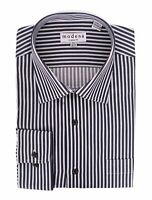 Mens Classic Fit Black & White Striped Spread Collar Cotton Dress Shirt