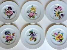 Set Of Six Vintage Hutschenreuther Porcelain Flower Plates Germany