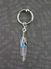 """Silver Blue Feather Cartilage Captive Bead Ring 16G 3/8"""" 10mm Piercing Earring"""