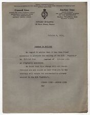 1919 CUNARD LINE Letter SS SAXONIA Anchor CRUISE Ship LINER Boston SAILING