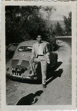 PHOTO ANCIENNE - VINTAGE SNAPSHOT - VOITURE AUTOMOBILE RENAULT 4 CV OMBRE - CAR