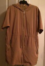 Michael Kors Jacket S Tan Taupe Brown Short Sleeve Zip Front Hood Lightweight
