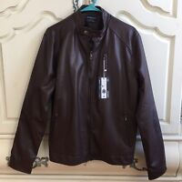 NWT AOWOFS Men's Faux Leather Motorcycle Bomber Brown Winter Coat Jacket Medium