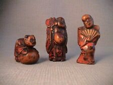 Small Collection of Three 19th Century Japanese  Negoro Lacquer Netsukes.