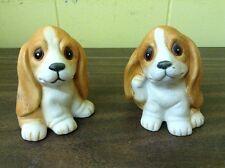 """Vtg Set Of 2 Adorable Homco Porcelain Basset Hound Puppy Dogs 3"""""""