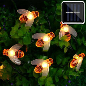 Solar Power Bee LED String Light Garden Path Yard Decor Lamp Outdoor Waterproof