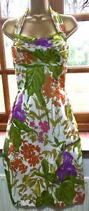 Vintage Halter dress Marcus Cottons bold bright botanical print 8 36