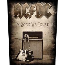 """AC/DC RÜCKENAUFNÄHER / BACKPATCH # 11 """"IN ROCK WE TRUST"""" - 36x30cm"""