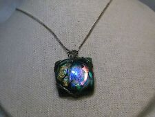 """Vintage Sterling Silver Metallic Glass Necklace, 24"""", 5.60 Gr. Murano Style"""