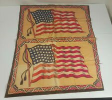 2 Antique Large Tobacco Flannels Felts 48 Star American Flag