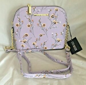 STEVE MADDEN HANDBAG BMAGGIE SEATTLE LAVENDER & GOLDTONE FLORAL CROSS BODY