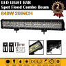 "20"" 840W Tri Row LED Work Light Bar Spot Flood Combo Beam Off Road Fog Truck 4WD"