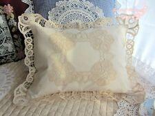 Vintage Battenburg Lace Pillow Cover Cushion Case~Beige~Cotton~Country Cottage~