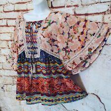 Meadow Rue Top S Flowy Boho Hippie Floral Silky Tassel Tie Peasant Shirt Blouse