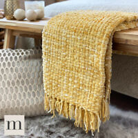 Luxury Large Woollen Feel Blankets Ochre Yellow Mustard Bed Sofa Throw Woven