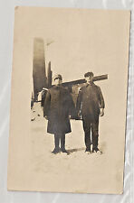 Real Photo Postcard RPPC. 2 Farmers/Factory Workers Winter Clothes AZO 1918-1930