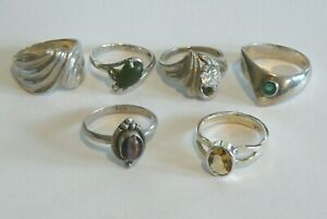 Lot of 6 Vintage Sterling Silver Misc. Rings w/ Stones ~ 25.8 grams