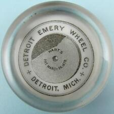 ANTIQUE HART'S DETROIT EMERY WHEEL CO. MICHIGAN ADVERTISING GLASS PAPERWEIGHT