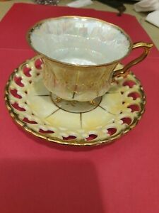 ROYAL SEALY CHINA  JAPAN lridecent try footed cup & sucer in gold & YELLOW