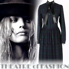 VINTAGE LAURA ASHLEY DRESS TARTAN 10 12 14 VICTORIAN MISTRESS EDWARDIAN 40s 50s