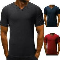 Men's muscle tee blouse v neck tops slim fit summer casual short sleeve t shirts