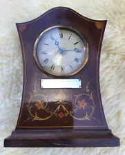More details for antique edwardian mahogany inlaid bracket / mantel clock.