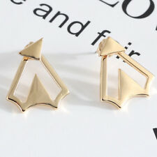 Celebrity Trend Geometric Chevron Triangle Spike Gold Ear Jackets Cuff Earrings