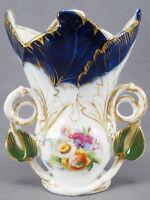 Old Paris Porcelain Mid 19th Century Hand Painted Floral Cobalt & Gold Vase