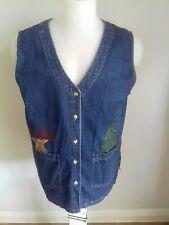 "HAIK'S  Blue Denim.Button Long Xmas sleeveless Waistcoat Jacket Chest 42/44"" vgc"