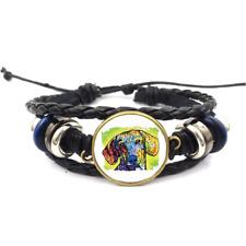 Dachsund Neon Glass Cabochon Bracelet Braided Leather Strap Bracelets