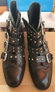 Topshop Black, Designer Inspired Leather Ankle Boots Size 7 EU41